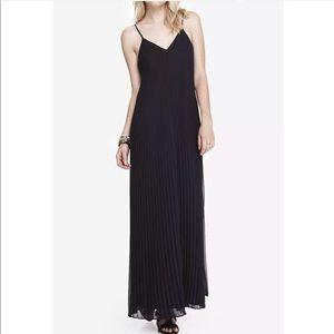 Express Black Spaghetti Strap Pleated Maxi Dress